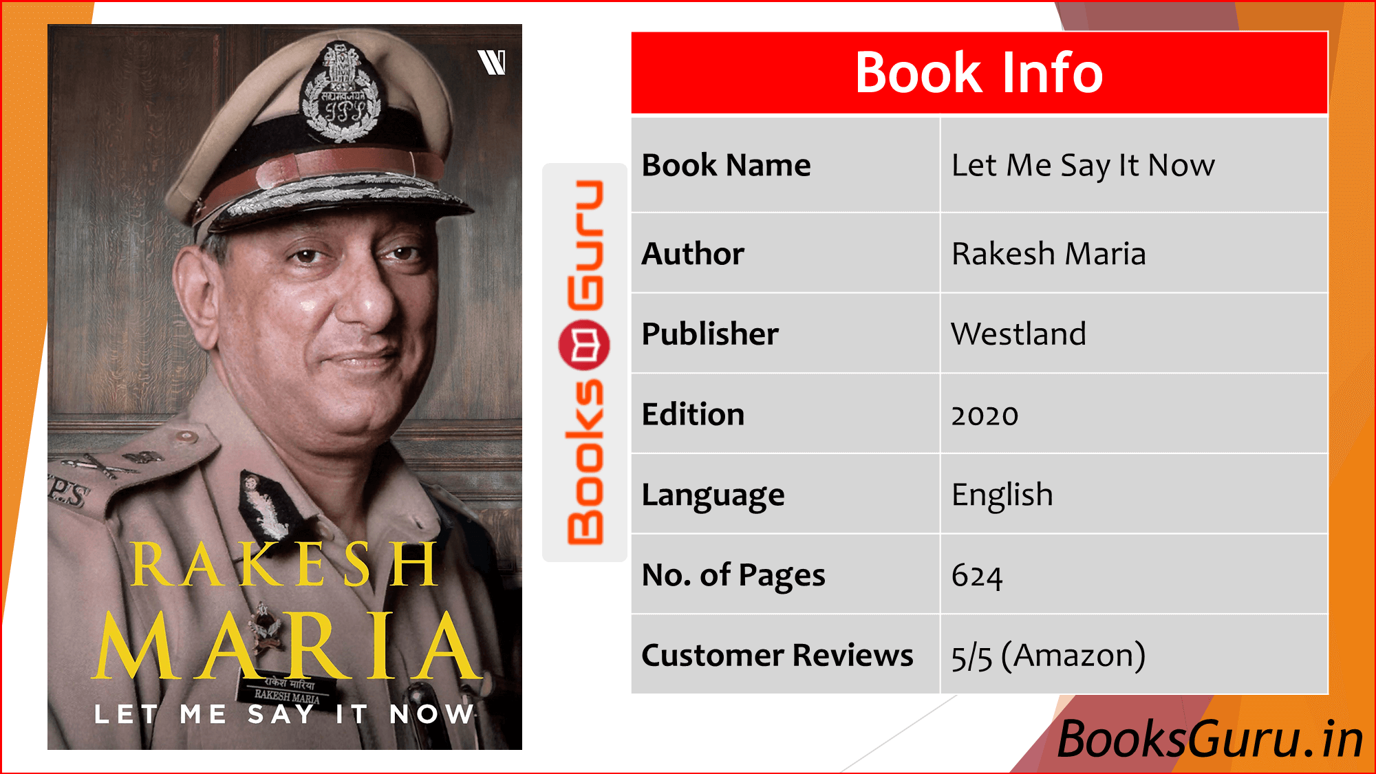 Let Me Say It Now by Rakesh Maria (IPS)